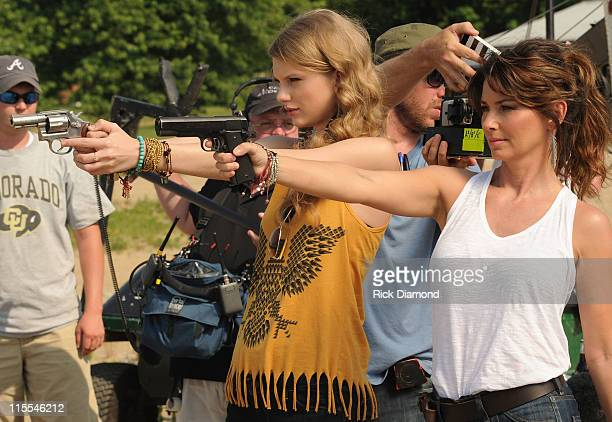 Singers Songwriters Taylor Swift and Shania Twain during the recreation of 'Thelma Louise' for CMT Music Awards airing on June 8 2011 8pm EST on CMT...