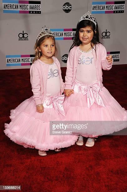 Singers Sophia Grace Brownlee and Rosie Brownlie arrive at the 2011 American Music Awards held at Nokia Theatre LA LIVE on November 20 2011 in Los...