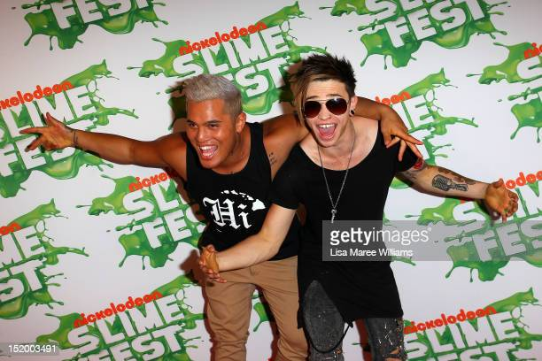 Singers Stan Walker and Reece Mastin pose on the media wall ahead of the Nickelodeon Slimefest 2012 evening show at Hordern Pavilion on September 15...