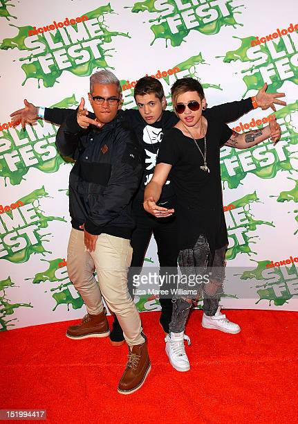 Singers Stan Walker Johnny Ruffo and Reece Mastin pose on the media wall ahead of the Nickelodeon Slimefest 2012 matinee show at Hordern Pavilion on...