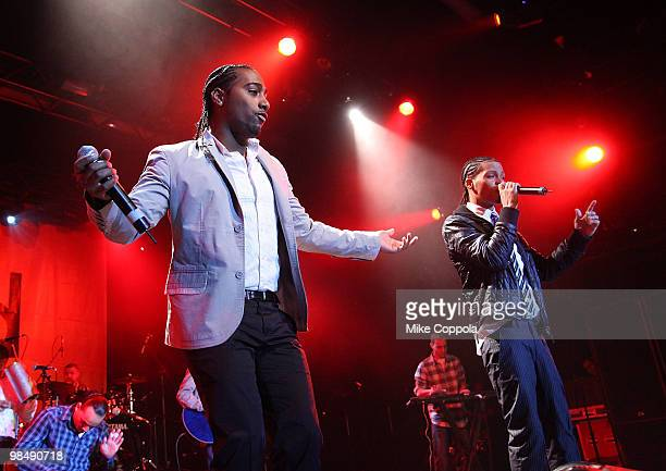 Singers Steven Tejada and Danny Mejia of the music group Xtreme perform at Nokia Theatre on April 15 2010 in New York New York