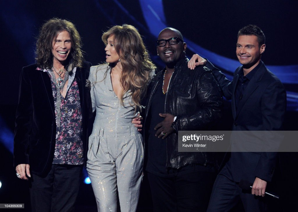 Singers Steven Tyler, Jennifer Lopez, musician Randy Jackson and host Ryan Seacrest appear onstage at a press conference to officially announce the season 10 'American Idol' judges panel at The Forum on September 22, 2010 in Inglewood, California.