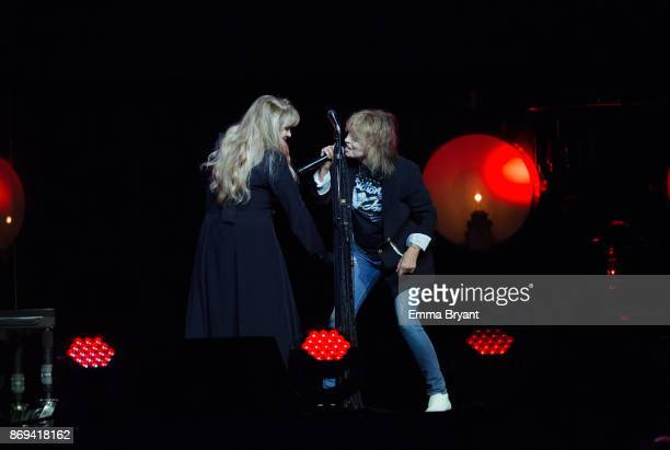 Singers Stevie Nicks and Chrissie Hynde perform on stage during her 24 Karat Gold Tour at Perth Arena on November 2 2017 in Perth Australia