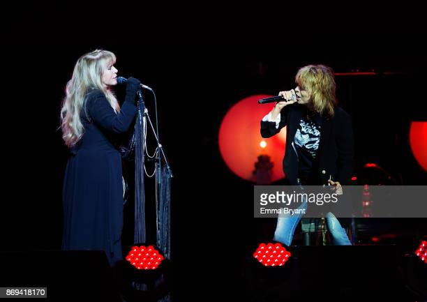 Singers Stevie Nicks and Chrissie Hynde perform on stage together for the opening night of the 24 Karat Gold Tour at Perth Arena on November 2 2017...