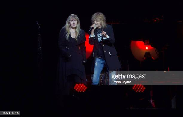 Singers Stevie Nicks and Chrissie Hynde performs on stage during her 24 Karat Gold Tour at Perth Arena on November 2 2017 in Perth Australia