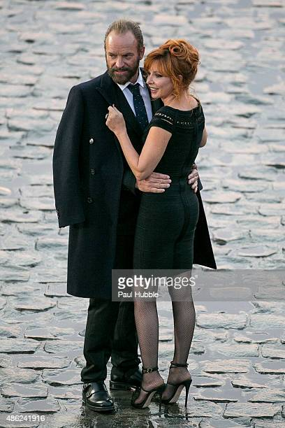 Singers Sting and Mylene Farmer are seen on the set of 'Stolen Car' video shooting on September 2 2015 in Paris France