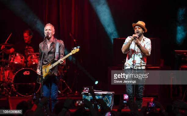 Singers Sting and Shaggy perform at The Masonic Auditorium on October 26, 2018 in San Francisco, California.