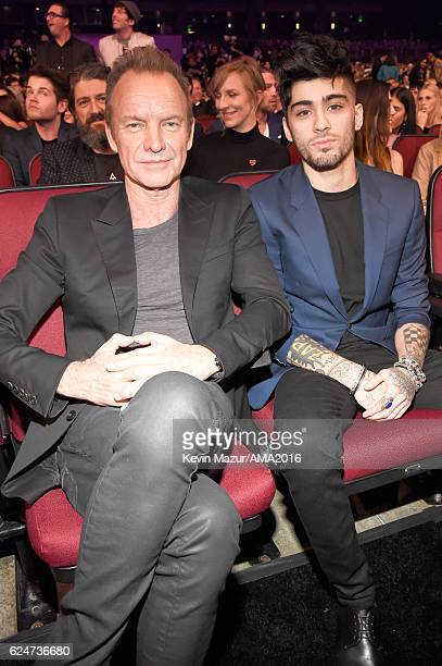 Singers Sting and Zayn Malik attend the 2016 American Music Awards at Microsoft Theater on November 20 2016 in Los Angeles California