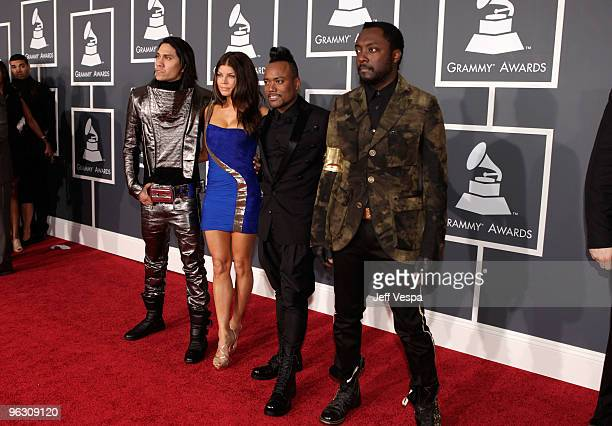 Singers Taboo Fergie apldeap and william of the Black Eyed Peas arrive at the 52nd Annual GRAMMY Awards held at Staples Center on January 31 2010 in...