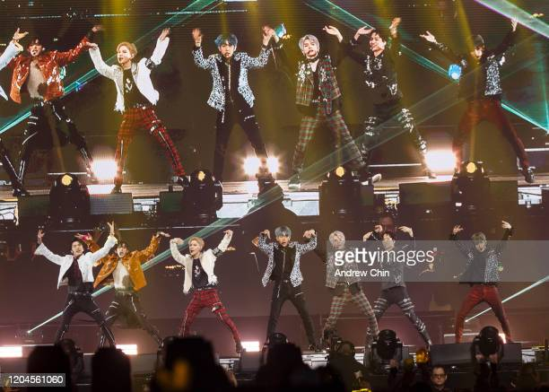 Singers Taemin Baekhyun Kai Taeyong Ten Mark and Lucas of Kpop supergroup SuperM perform on stage at Rogers Arena on February 06 2020 in Vancouver...