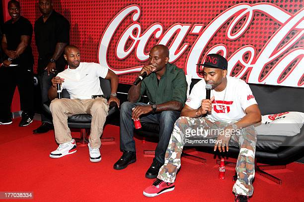 Singers Tank Tyrese and Ginuwine of the group TGT answers questions from their fans in the V103FM 'CocaCola Lounge' in Chicago Illinois on AUGUST 13...