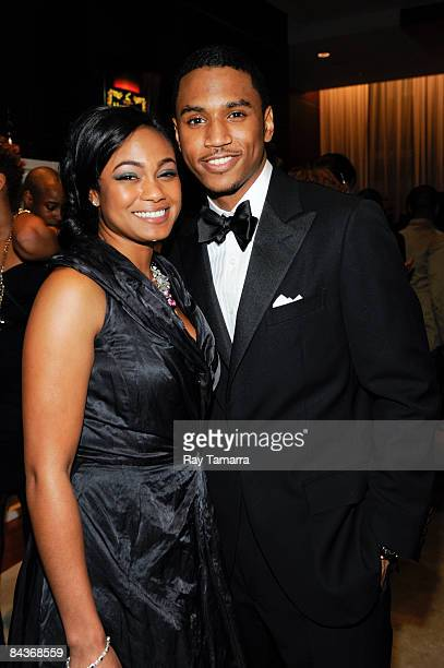 Singers Tatyana Ali and Trey Songz attend the Hennessy VIP Room at the Hip Hop Summit Action Network Inaugural Ball at the Harman Center for the Arts...