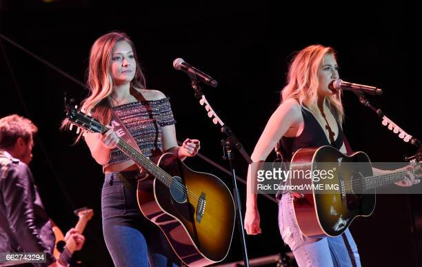 Singers Taylor Dye and Madison Marlow of Maddie Tae perform onstage at the Bash at the Beach presented by WME at the Mandalay Bay Beach at Mandalay...