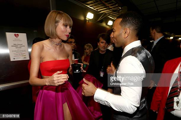Singers Taylor Swift and John Legend attend The 58th GRAMMY Awards at Staples Center on February 15 2016 in Los Angeles California