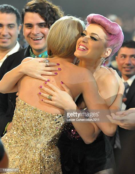 Singers Taylor Swift and Katy Perry at the 2011 American Music Awards held at Nokia Theatre LA LIVE on November 20 2011 in Los Angeles California