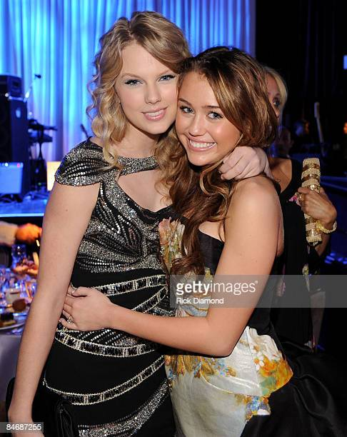 Singers Taylor Swift and Miley Cyrus attend the 2009 GRAMMY Salute To Industry Icons honoring Clive Davis at the Beverly Hilton Hotel on February 7...