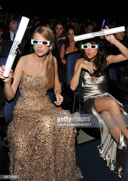 Singers Taylor Swift and Selena Gomez at the 2011 American Music Awards held at Nokia Theatre L.A. LIVE on November 20, 2011 in Los Angeles,...