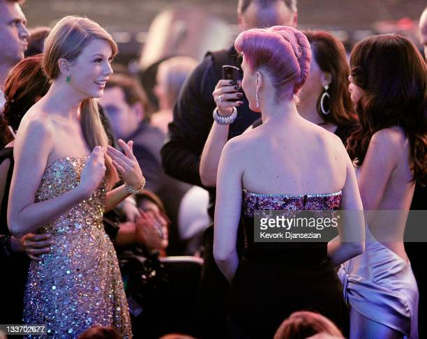 Singers Taylor Swift Katy Perry and Selena Gomez at the 2011 American Music Awards held at Nokia Theatre LA LIVE on November 20 2011 in Los Angeles...