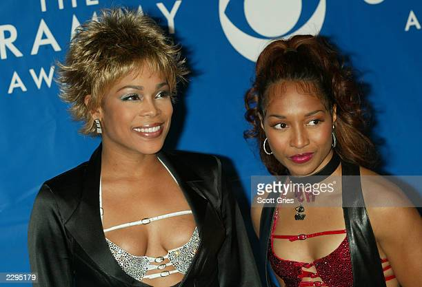 Singers TBoz and Chilli of TLC attend the 45th Annual Grammy Awards at Madison Square Garden on February 23 2003 in New York City
