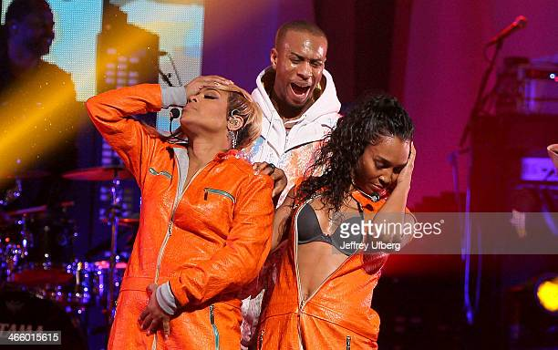 Singers TBoz and Chilli of TLC perform during VH1's Super Bowl Blitz Six Nights Six Concerts at Beacon Theatre on January 30 2014 in New York City