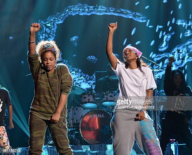 Singers TBoz and Chilli of TLC perform onstage during rehearsals for the 2013 American Music Awards at Nokia Theatre LA Live on November 21 2013 in...
