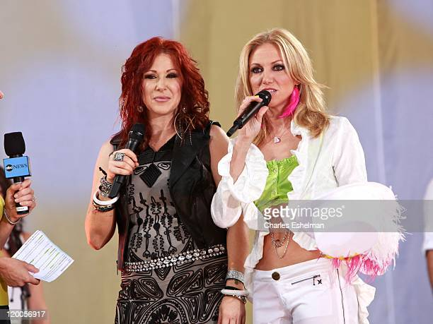 Singers Tiffany and Debbie Gibson perform on ABC's 'Good Morning America' at Rumsey Playfield Central Park on July 29 2011 in New York City