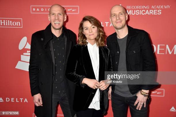 Singers Tim Hanseroth Brandi Carlile and Phil Hanseroth attend MusiCares Person of the Year honoring Fleetwood Mac at Radio City Music Hall on...
