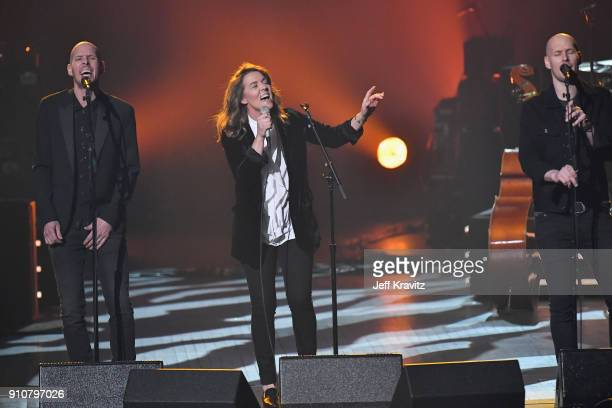 Singers Tim Hanseroth Brandi Carlile and Phil Hanseroth performs onstage during MusiCares Person of the Year honoring Fleetwood Mac at Radio City...