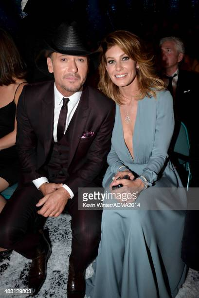 Singers Tim McGraw and Faith Hill attend the 49th Annual Academy of Country Music Awards at the MGM Grand Garden Arena on April 6 2014 in Las Vegas...