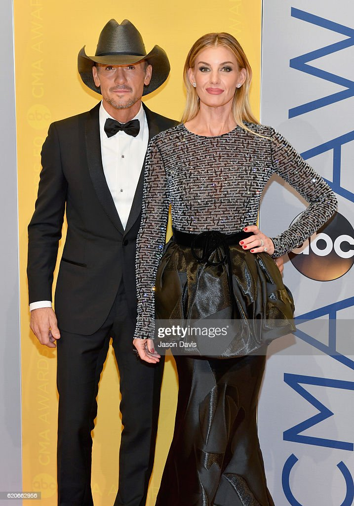 Singers Tim McGraw and Faith Hill attend the 50th annual CMA Awards at the Bridgestone Arena on November 2, 2016 in Nashville, Tennessee.
