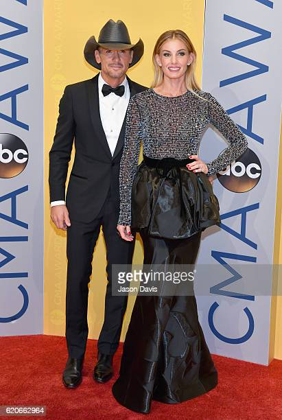 Singers Tim McGraw and Faith Hill attend the 50th annual CMA Awards at the Bridgestone Arena on November 2 2016 in Nashville Tennessee