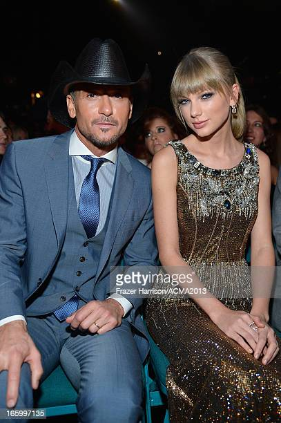 Singers Tim McGraw and Taylor Swift attend the 48th Annual Academy of Country Music Awards at the MGM Grand Garden Arena on April 7 2013 in Las Vegas...