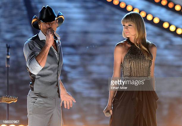 Singers Tim McGraw and Taylor Swift perform onstage during the 48th Annual Academy of Country Music Awards at the MGM Grand Garden Arena on April 7,...