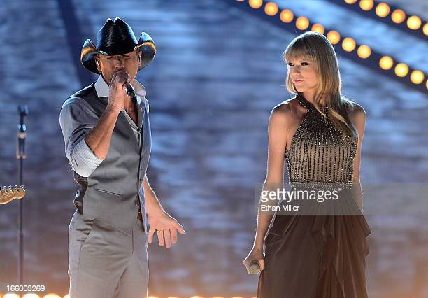 Singers Tim McGraw and Taylor Swift perform onstage during the 48th Annual Academy of Country Music Awards at the MGM Grand Garden Arena on April 7...