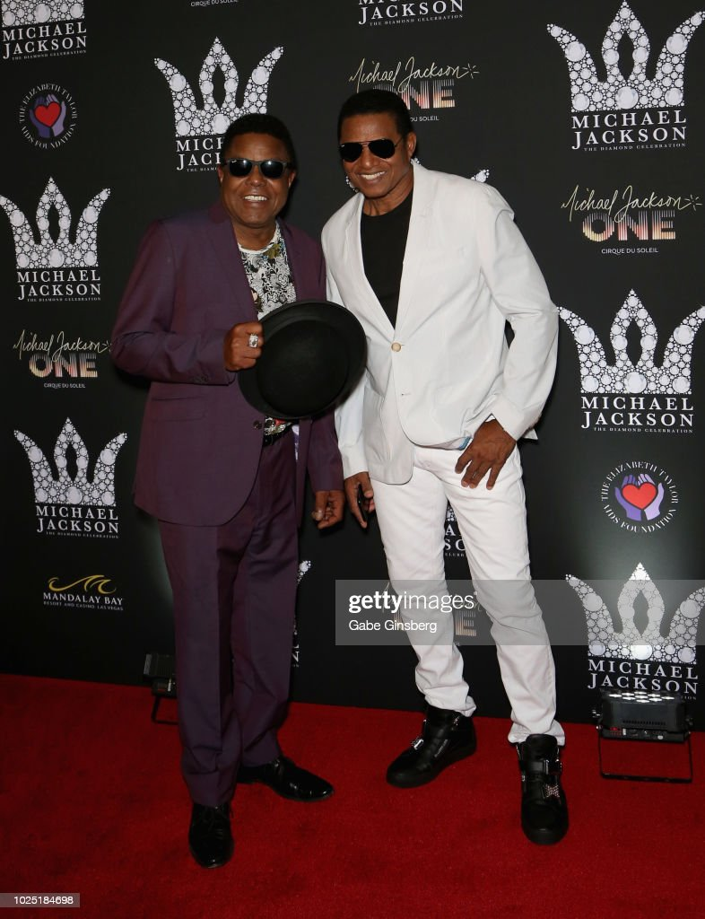 Singers Tito Jackson (L) and his brother Jackie Jackson attend the Michael Jackson diamond birthday celebration at Mandalay Bay Resort and Casino on August 29, 2018 in Las Vegas, Nevada.