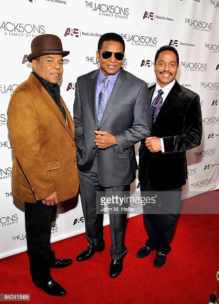 Singers Tito Jackson Jackie Jackson and Marlon Jackson attend The Jacksons A Family Dynasty launch party presented by A E at Boulevard3 on December 9...