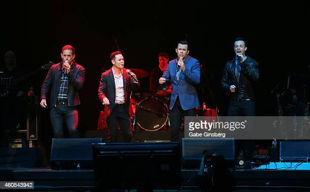 Singers Toby Allen Michael Tierney Phil Burton and Andrew Tierney of the Australian vocal group Human Nature perform on stage during Mondays Dark...