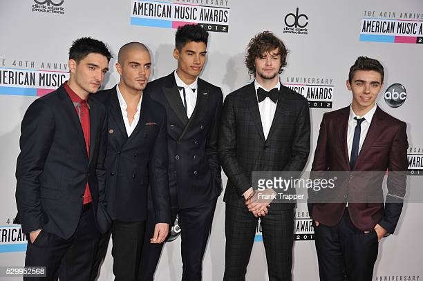 Singers Tom Parker Max George Siva Kaneswaran Jay McGuiness and Nathan Sykes of The Wanted arrive the 40th American Music Awards held at Nokia...