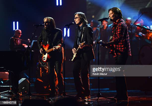 Singers Tom Petty Jackson Browne and John Fogerty perform at the 28th Annual Rock and Roll Hall of Fame Induction Ceremony at Nokia Theatre LA Live...