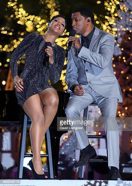 Singers Toni Braxton and Kenneth 'Babyface' Edmonds perform on stage at The Grove's 11th Annual Christmas Tree Lighting Spectacular at The Grove on...