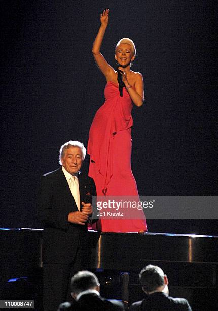 Singers Tony Bennett and Christina Aguilera perform Steppin' Out With My Baby during the 59th Primetime EMMY Awards at the Shrine Auditorium on...