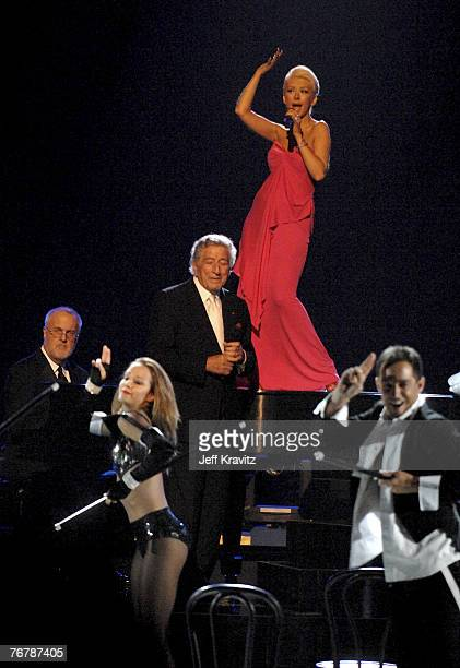 LOS ANGELES CA SEPTEMBER 16 Singers Tony Bennett and Christina Aguilera perform Steppin' Out With My Baby during the 59th Primetime EMMY Awards at...