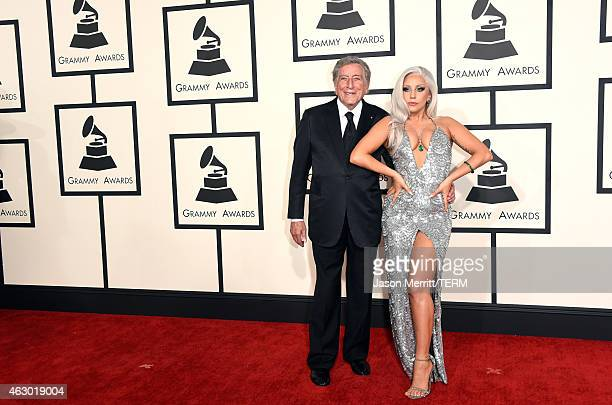 Singers Tony Bennett and Lady Gaga attend The 57th Annual GRAMMY Awards at the STAPLES Center on February 8 2015 in Los Angeles California