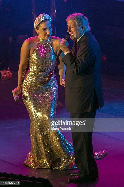 Singers Tony Bennett and Lady Gaga perform at Grand'place on September 22 2014 in Brussels Belgium