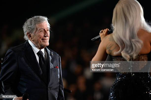 Singers Tony Bennett and Lady Gaga perform Cheek to Cheek onstage during The 57th Annual GRAMMY Awards at the at the STAPLES Center on February 8...
