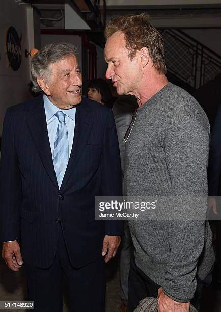 Singers Tony Bennett and Sting arrive at the screening of Sony Pictures Classics' Miles Ahead hosted by The Cinema Society with Ketel One and Robb...