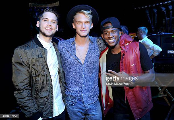 Singers Tony Oller Cody Simpson and Malcolm David Kelley of MKTO attend FOX's 2014 Teen Choice Awards at The Shrine Auditorium on August 10 2014 in...