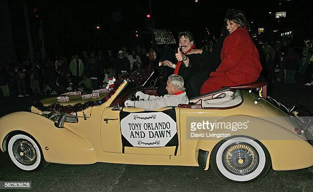 Singers Tony Orlando and Joyce Vincent ride in the 2005 Hollywood Christmas Parade on November 27 2005 in Hollywood California