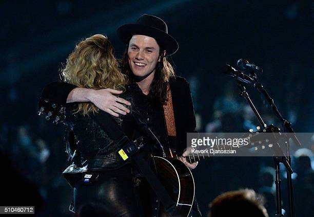 Singers Tori Kelly and James Bay perform onstage during The 58th GRAMMY Awards at Staples Center on February 15 2016 in Los Angeles California