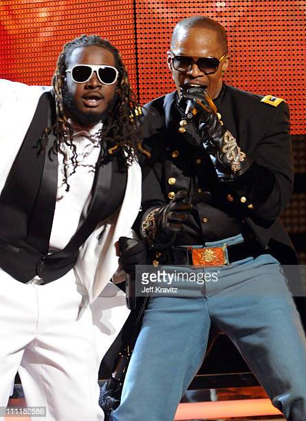Singers T-Pain and Jamie Foxx perform onstage during the 52nd Annual GRAMMY Awards held at Staples Center on January 31, 2010 in Los Angeles,...
